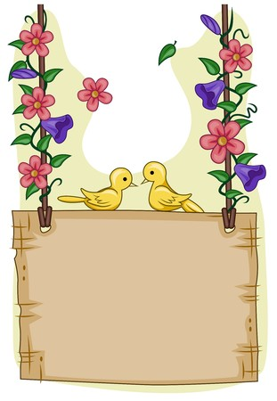 cartoon frame: Romantic View of a Pair of Birds Sitting on Top of a Blank Signpost