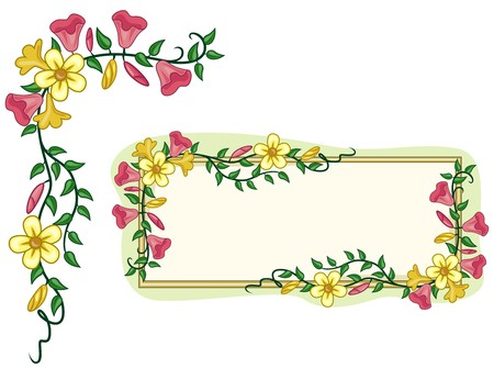 vine border: A Corner Design Element and a Blank Board Covered With Vines and Flowers
