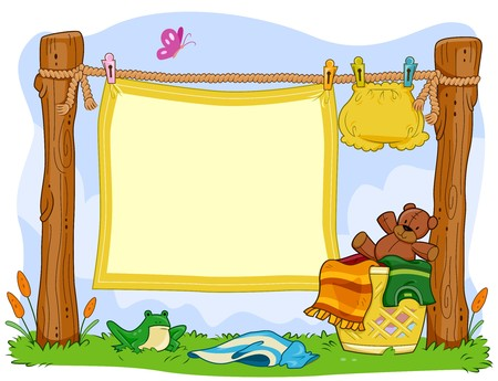 clothes cartoon: A Blanket Hanging From a Clothesline for Background