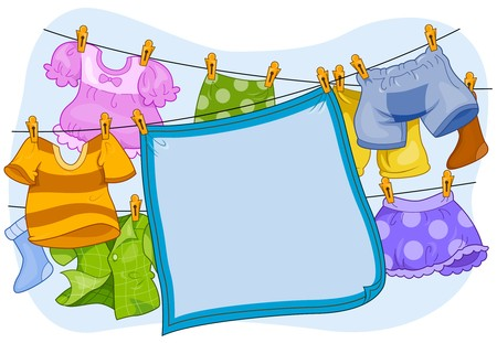 clothes cartoon: A Blanket and Clothes Hanging From a Clothesline Stock Photo