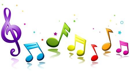 notas musicales: Arco iris coloreado notas musicales contra el fondo blanco  Foto de archivo