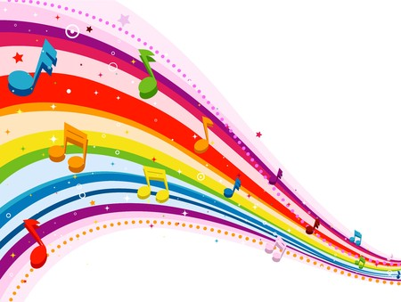 Rainbow-Colored Rainbow Design With Musical Notes Against White Background Stock Photo - 8069002