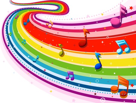 Rainbow-Colored Rainbow Design With Musical Notes Against White Background Stock Photo - 8069017
