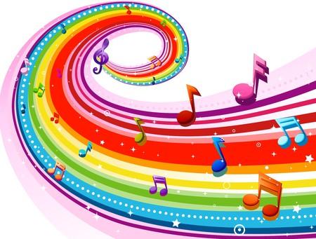 notas musicales: Dise�o de arco iris de color arco iris con notas musicales sobre fondo blanco Foto de archivo