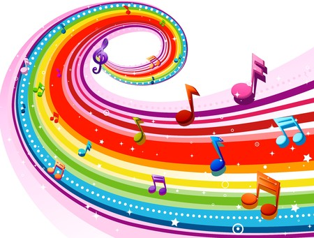 musical notes: Rainbow-Colored Rainbow Design With Musical Notes Against White Background Stock Photo