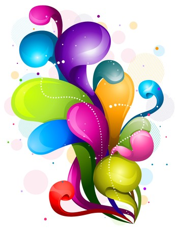 Abstract Rainbow Colored Swirls Against White Background Stock Photo - 8069013