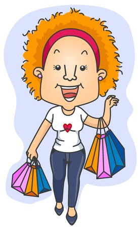 retail therapy: A Beaming Woman Carrying Shopping Bags