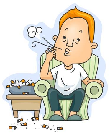 man smoking: Una Man liberaci�n de humo de su cigarrillo con lotes de cigarrillos Butts situada alrededor de  Foto de archivo