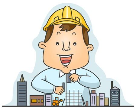 arquitecto caricatura: Un ingenieroarquitecto construir un modelo de construcci�n de modelosedificio Foto de archivo