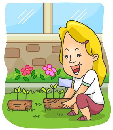 A Beaming Woman Planting in Her Garden photo
