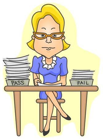 marking': A Teacher Checking  Grading Test Papers