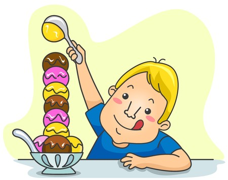 scoop: A Kid Playfully Stacking Ice Cream Scoops on His Bowl