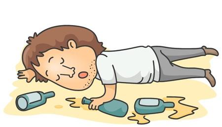 alcoolisme: Un Drunk Man mentir inconscient sur le sol