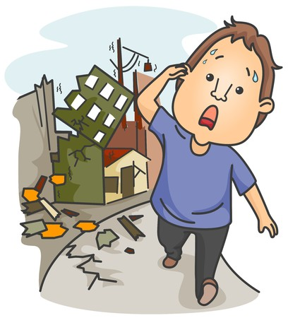natural disaster: A Panic-Stricken Man Walking Away From Buildings Wrecked by an Earthquake  Stock Photo