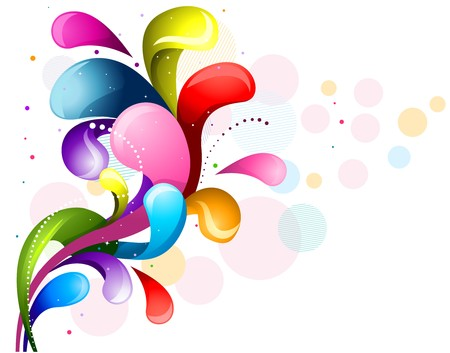 Abstract Rainbow Colored Swirls Against White Background