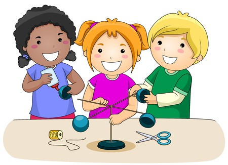 A Small Group of Kids Making an Anemometer  photo