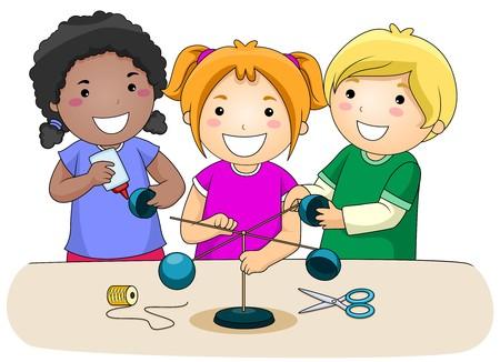 experimento: Un grupo de peque�as de Kids Making un anem�metro  Foto de archivo