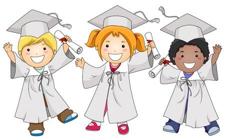 graduacion caricatura: Un grupo de peque�as de env�o de ni�os en el gorras y togas posando mientras agarrando sus diplomas