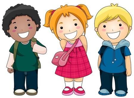escuela caricatura: Un grupo de pequeñas de Kids Ready to Go to School  Foto de archivo
