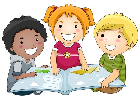 A Small Group of Kids Reading a Book Stock Photo - 8129518