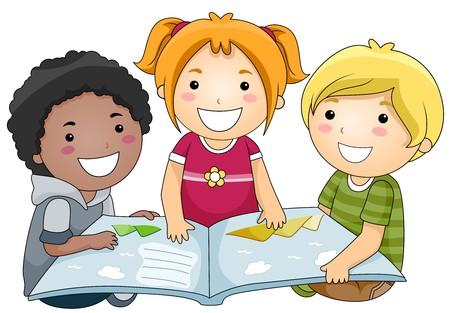 ni�os leyendo: Un grupo de peque�as de Kids, un libro de lectura