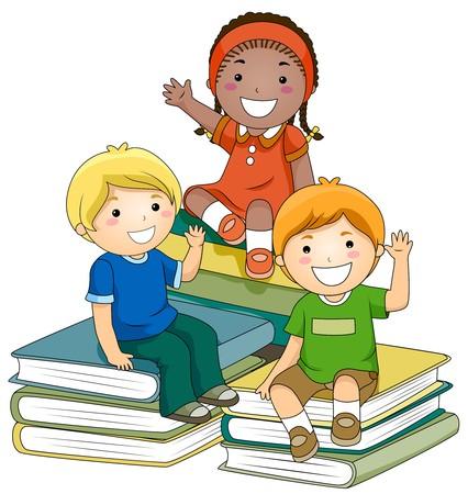 schooler: Un piccolo gruppo di bambini seduti su pile di libri