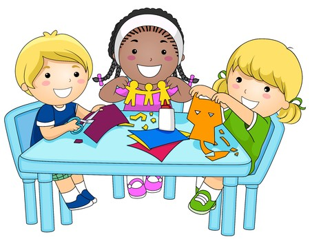 children in class: A Small Group of Kids Making Paper Cutouts  Stock Photo
