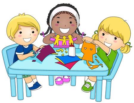 schooler: Un piccolo gruppo di ragazzi effettuare ritagli di carta