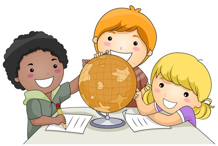 human geography: A Small Group of Kids Studying a Globe Stock Photo