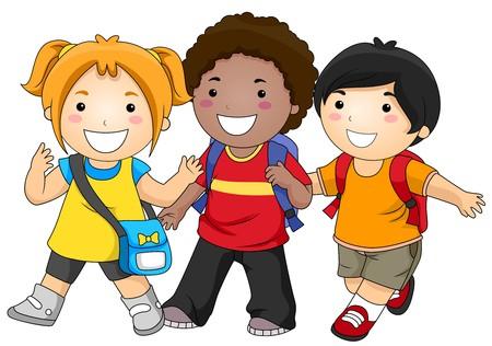 escuela caricatura: Un grupo pequeño de niños a ir a la escuela