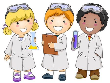 science lab: A Small Group of Kids Conducting a Laboratory Experiment Stock Photo