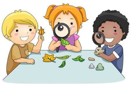 観察: 拡大鏡を通して葉勉強して子供たちの小さなグループ