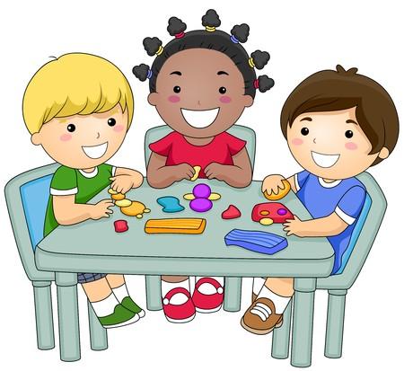 niños jugando caricatura: Un grupo de pequeñas de Kids crear diferentes figuras de arcilla  Foto de archivo