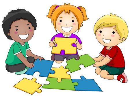 niños jugando caricatura: Un grupo de pequeñas de Kids Re-constructing un Jigsaw Puzzle