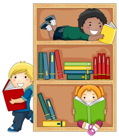 libro caricatura: Un grupo de peque�as de Kids libros de lectura  Foto de archivo