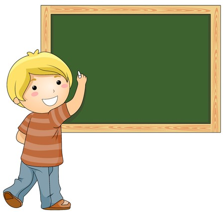 schooler: A Beaming Boy Writing Something on the Blackboard  Stock Photo