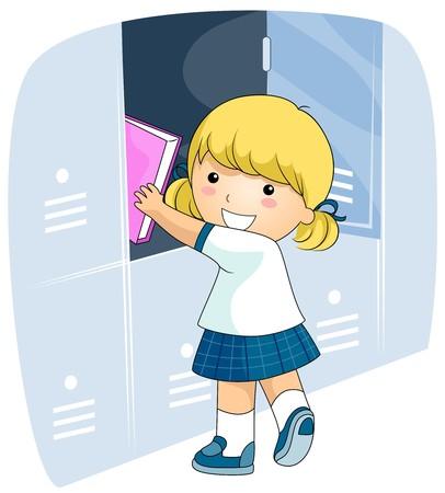 schooler: Una ragazza raggiante in uniforme di scuola di mettere alcune cose nel suo armadietto