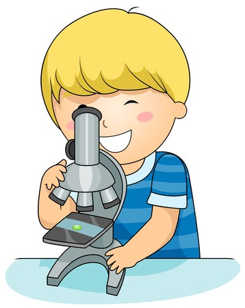 beaming: A Beaming Boy Inspecting a Specimen Through a Microscope