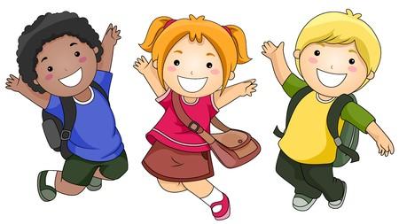 schooler: Un piccolo gruppo di bambini saltando happily