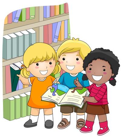 図書館: 図書館の本をチェックする子供たちの小さなグループ