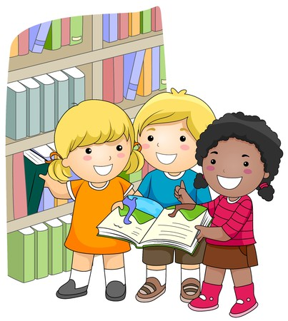 grade schooler: A Small Group of Kids Checking Books in the Library