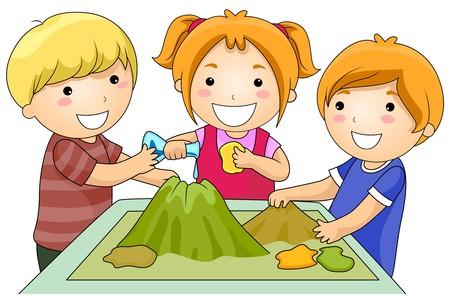 観察: 火山プロジェクトの子供たちの小さなグループ
