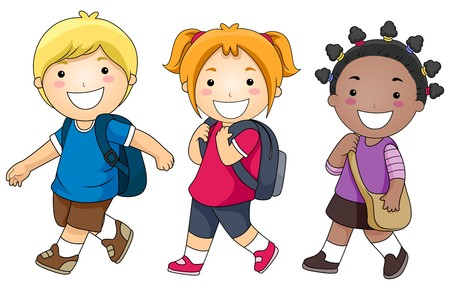 person walking: A Small Group of Kids Walking to School Stock Photo