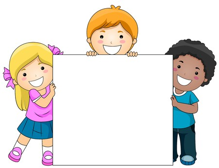 clip board: Kids with a Blank Board against White Background