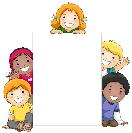 waving: Kids with a Blank Board against White Background