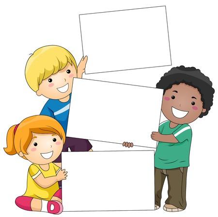 Bambini con un vuoto contro sfondo bianco