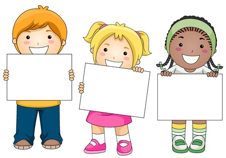 children clipart: Kids with a Blank Board against White Background