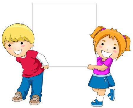african cartoon: Kids with a Blank Board against White Background
