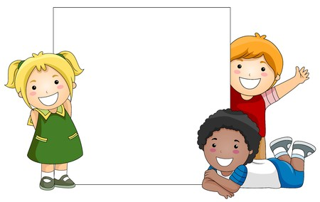 cartoon board: Kids with a Blank Board against White Background