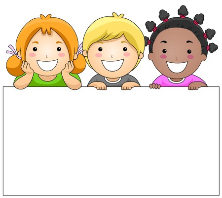 child clipart: Kids with a Blank Board against White Background